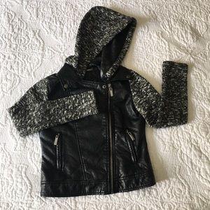 Other - Girls Black Contrast Hooded Jacket